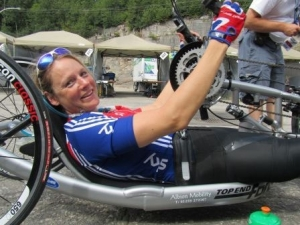 Karen racing for team GB