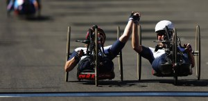 Karen Darke and Rachel Morris finishing in hand cycling